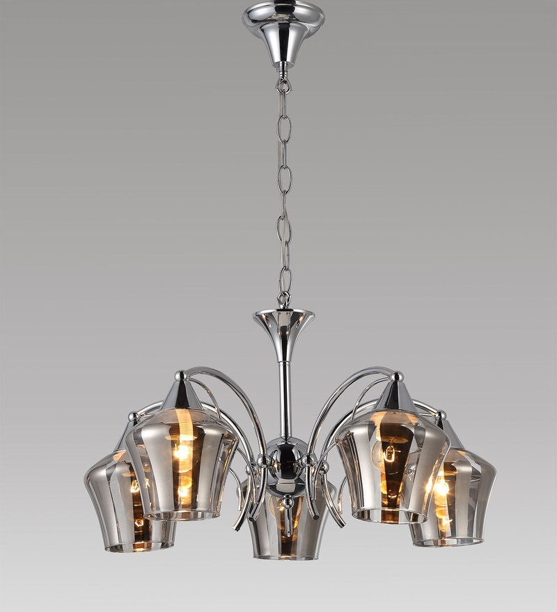 Chrome Metal and Glass Chandelier by Stello