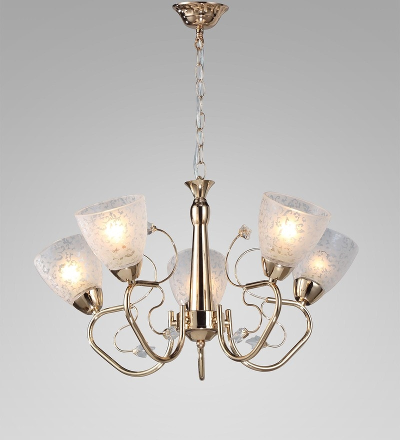 Gold Metal and Crystal Chandelier by Stello