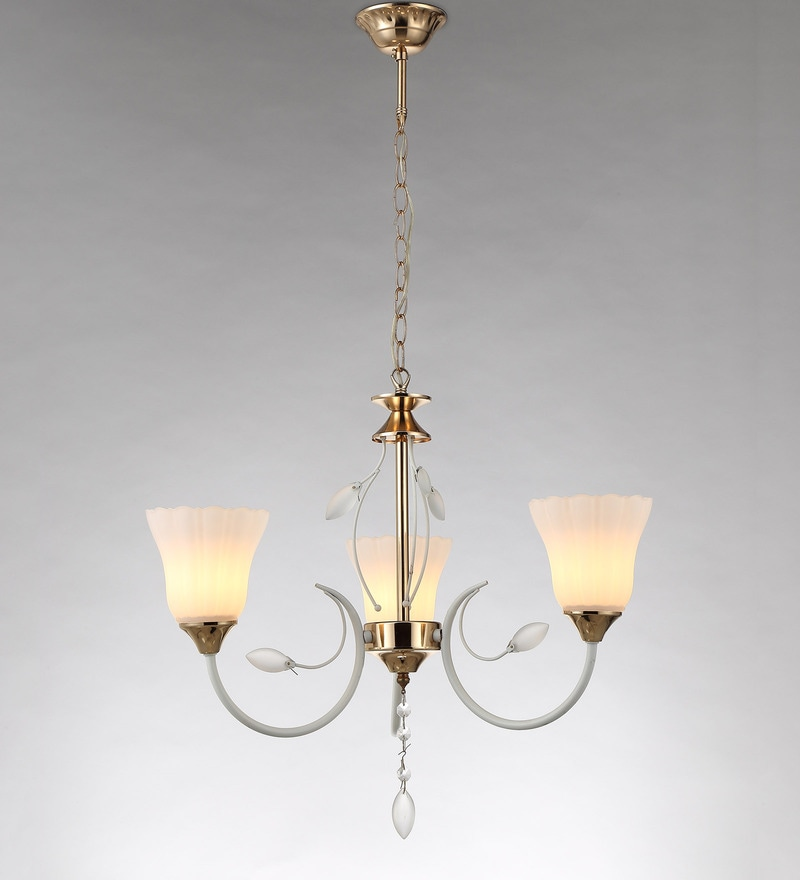 White and Gold Metal and Crystal Chandelier by Stello
