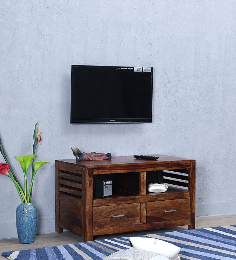 Stigen Two Door Entertainment Unit in Provincial Teak Finish by Woodsworth
