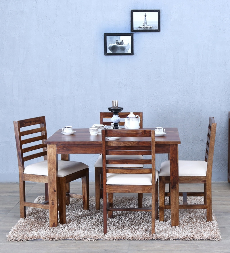 Stigen Four Seater Dining Set in Provincial Teak Finish by Woodsworth
