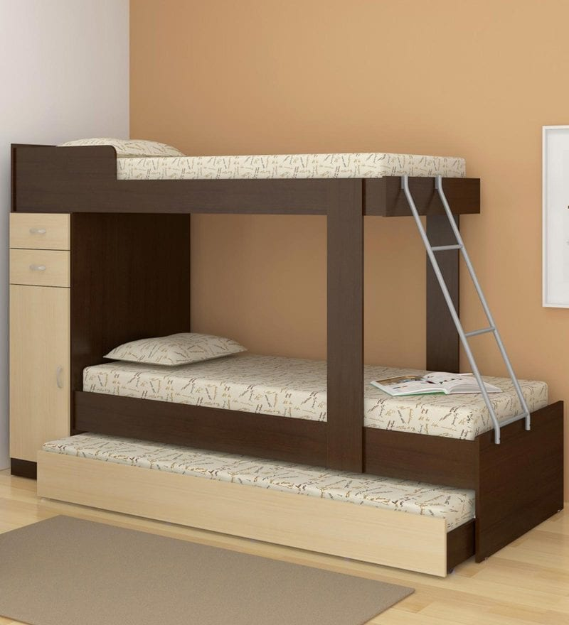 McHannah Storage Bunk Bed with Trundle in Maple & Tobacco by Mollycoddle