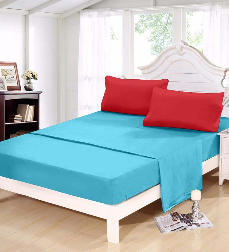 Blues Solids Cotton Queen Size Bed Sheets - Set of 3 by Story@Home