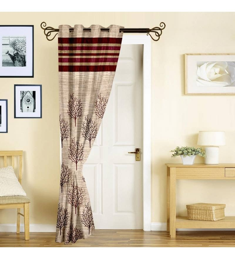Red Poly Jacquard 84 x 46 Inch Floral Door Curtain - Set of 2 by Story@Home