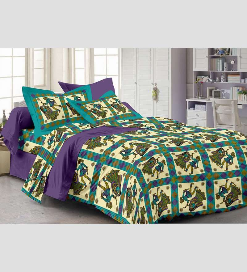 Purple 100% Cotton Abstract Double Bed Sheet (with Pillow Covers) - Set of 3 by Story@Home