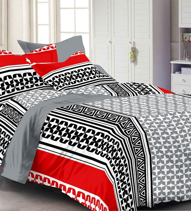 Multicolour Abstract Patterns Cotton Queen Size Bed Sheets - Set of 3 by Story@Home