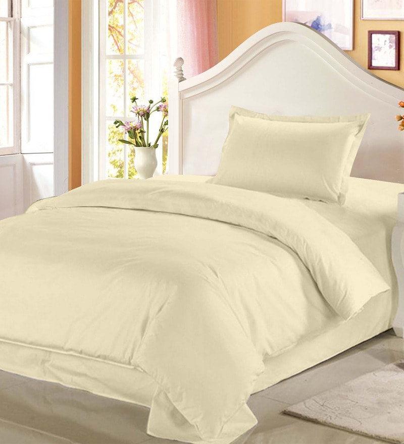Off White Solids Cotton Single Size Bed Sheets - Set of 2 by Story@Home