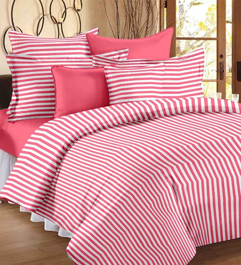 White & Pink Geometric Patterns Cotton Single Size Bed Sheets - Set of 2 by Story@Home