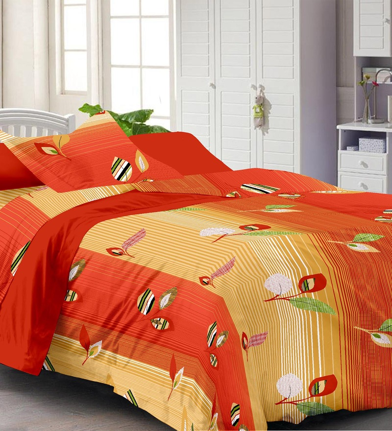 Multicolour Nature & Florals Cotton Single Size Bed Sheet Set by Story@Home