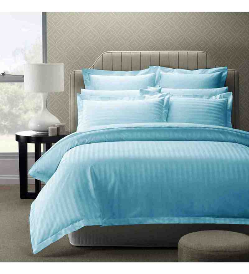 Blue 100% Cotton 108 x 108 Inch Foreverxl Bed Sheet Set by Story@Home