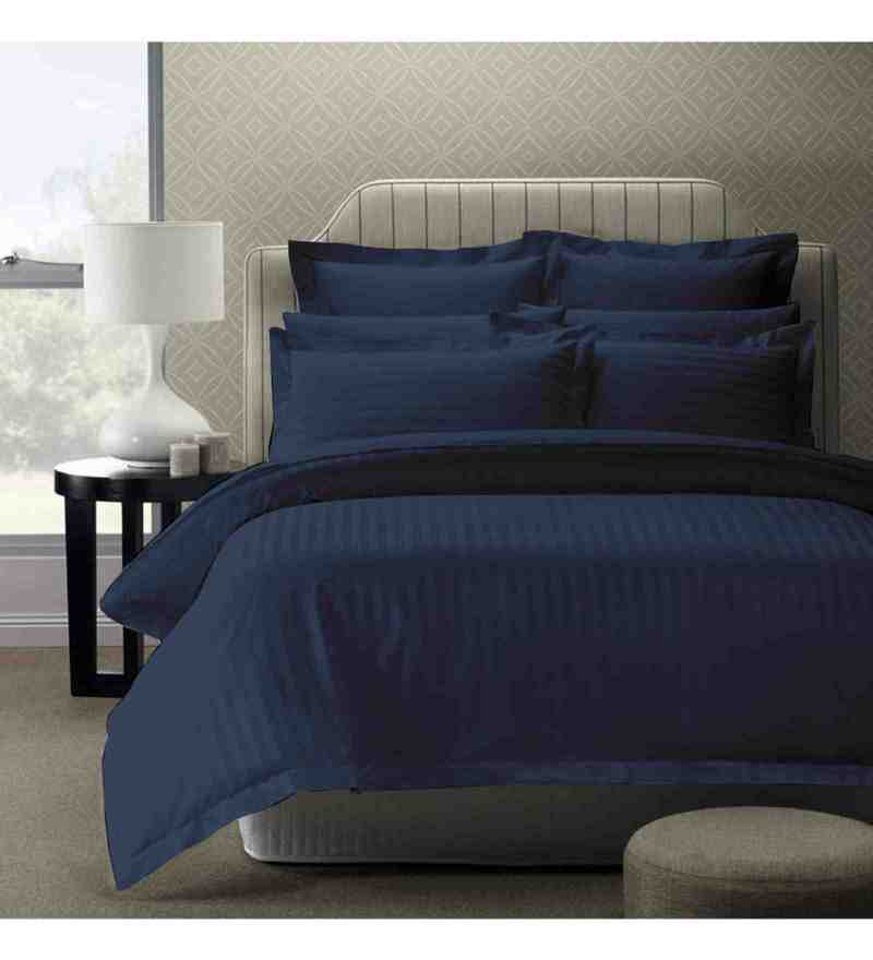 Dark Blue 100% Cotton 108 x 108 Inch Foreverxl Bed Sheet Set by Story@Home