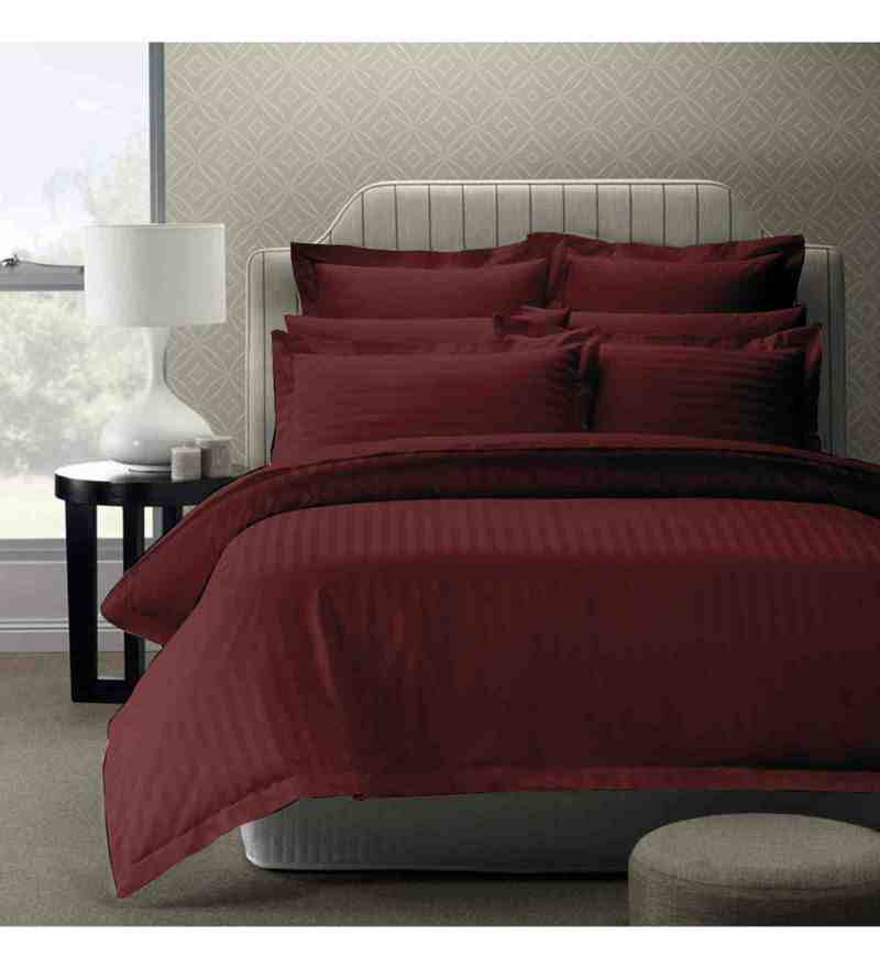 Maroon 100% Cotton 108 x 108 Inch Foreverxl Bed Sheet Set by Story@Home