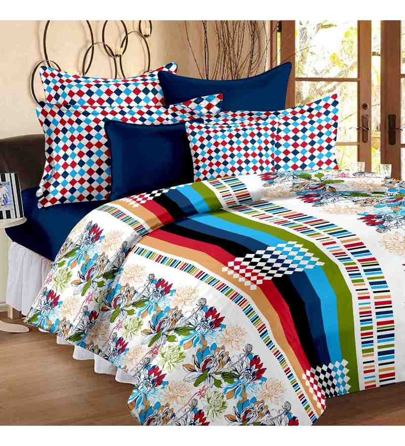 Multicolor 100% Cotton 88 x 100 Inch Metro Bed Sheet Set by Story@Home