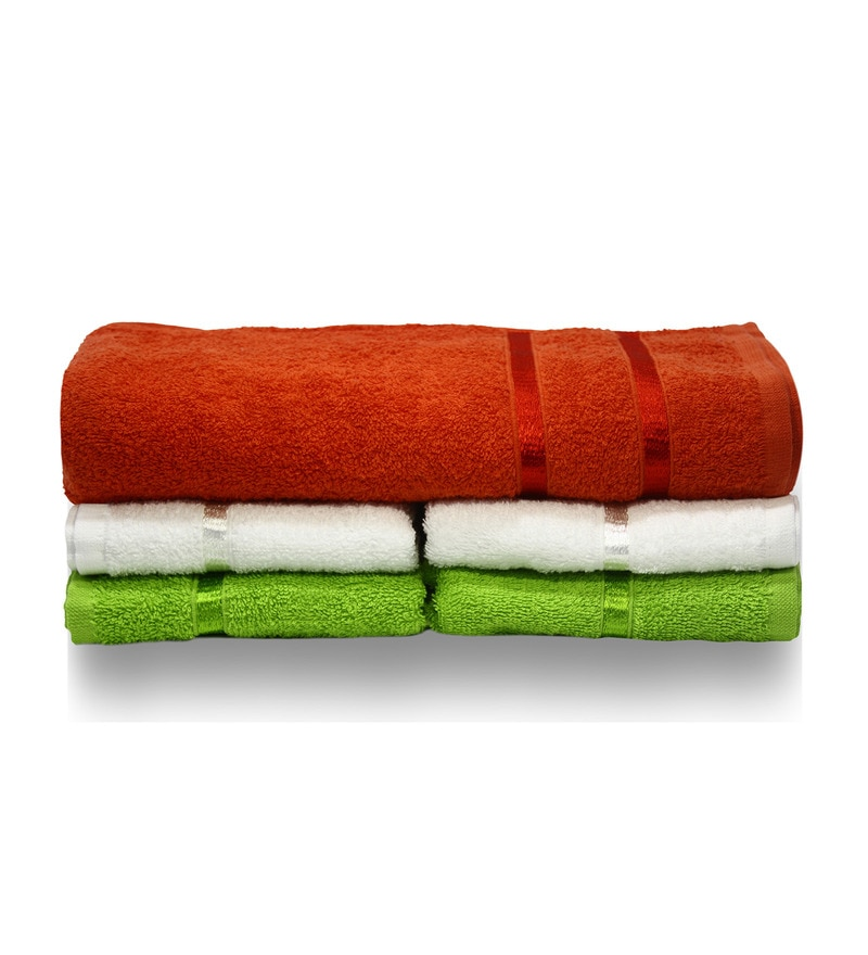 Orange, White & Green Cotton Towel - Set of 5 by Story@Home