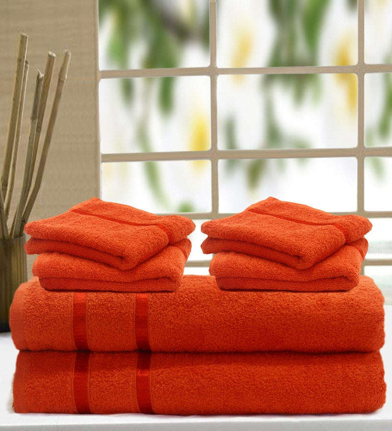 Orange Cotton Towel - Set of 6 by Story@Home
