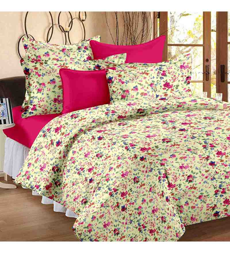 Multicolour 100% Cotton 57 X 88 Inch Fantasy Bed Sheet Set by Story@Home