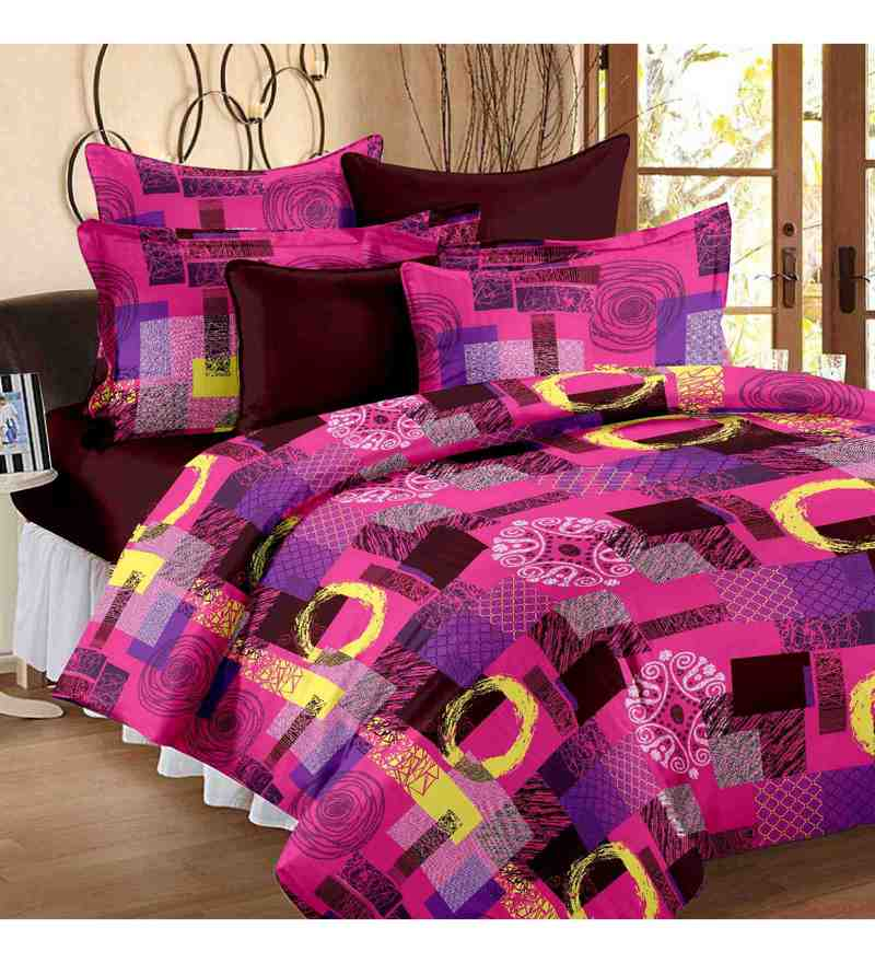 Multicolour 100% Cotton 88 x 93 Inch Double Bedsheet Set by Story@Home