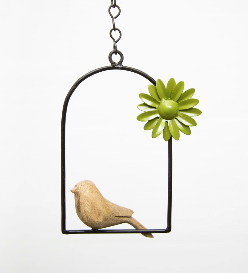 Hanging Bird Flower Green with Chain by Studio Earthbox