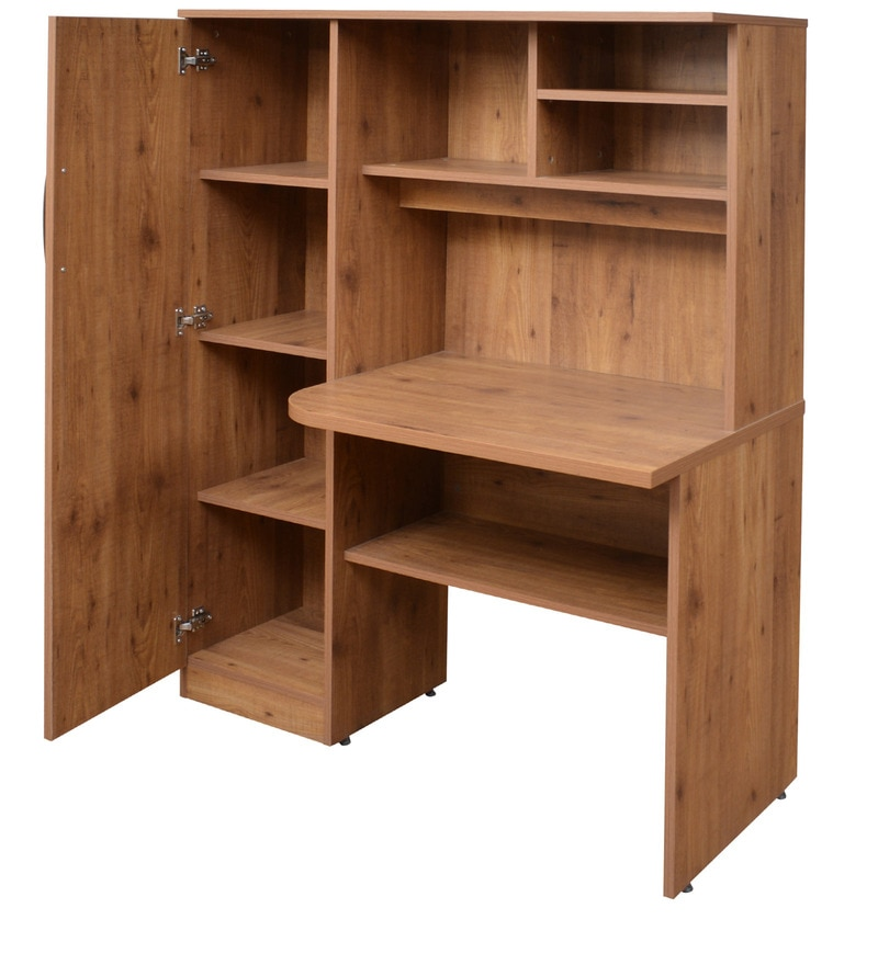 Buy Study Table With Book Shelves amp Cabinet In Knotty Wood