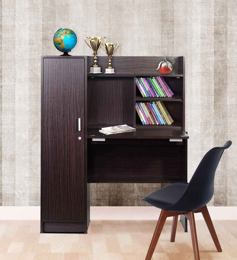 Nakamura Study Table with Cabinet in Wenge Finish by Mintwud