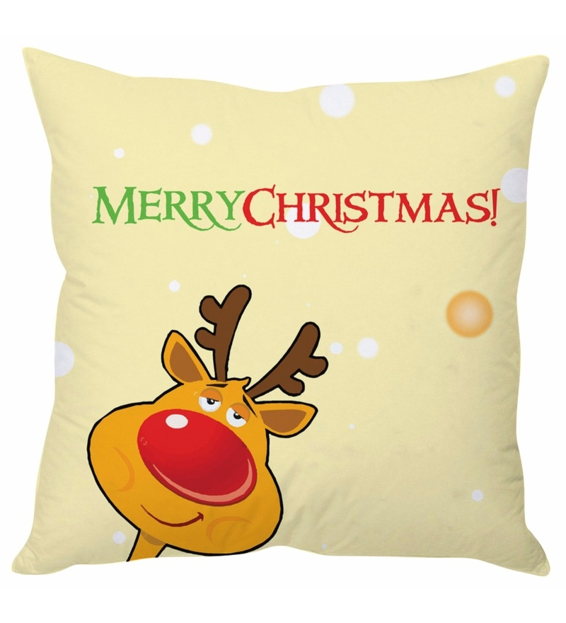 Beige 100 % Polyester 16 x 16 Inch Merry Christmas Beige Cushion Cover by Stybuzz