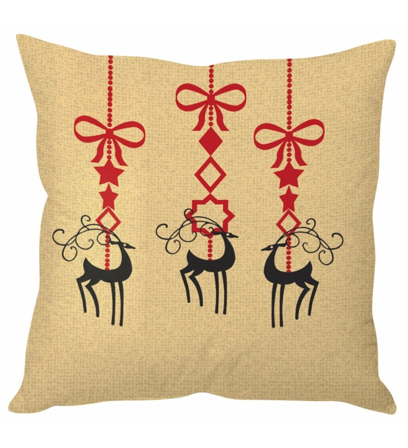 Beige 100 % Polyester 16 x 16 Inch Reindeer Art Christmas Cushion Cover by Stybuzz