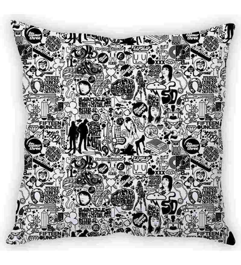 Black & White Silk 16 x 16 Inch Poster Print Cushion Cover by Stybuzz