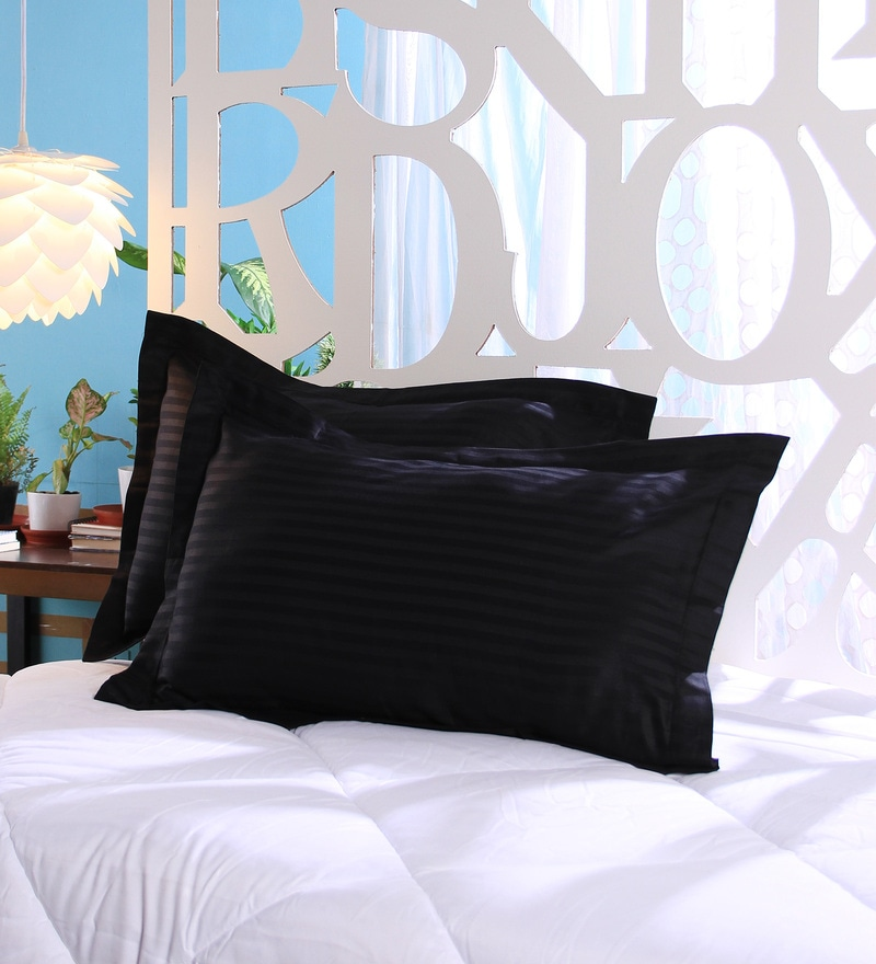 Black Cotton 18 x 27 Pillow Cover - Set of 2 by Stybuzz