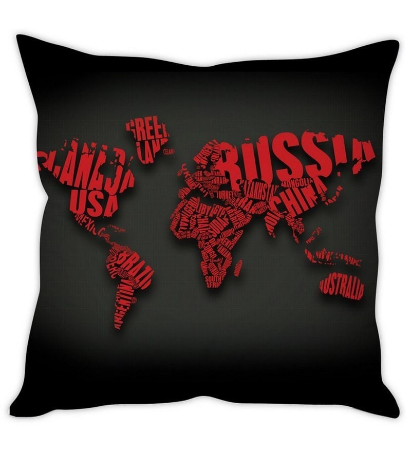 Black Silk 16 x 16 Inch Artistic World Map Cushion Cover by Stybuzz