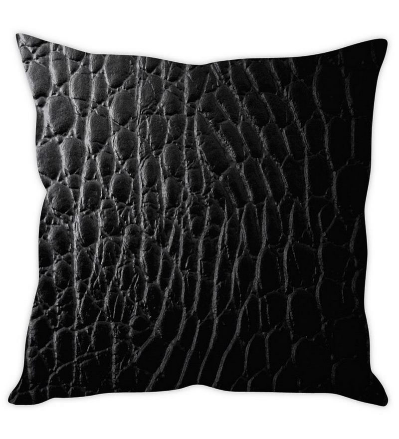 Black Silk 16 x 16 Inch Leather Print Cushion Cover by Stybuzz