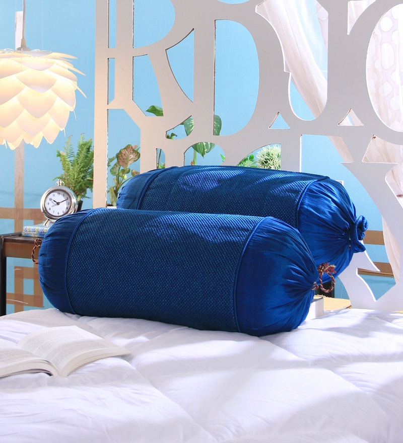 Blue Jute 16 x 30 Inch Bolster Covers - Set of 2 by Stybuzz