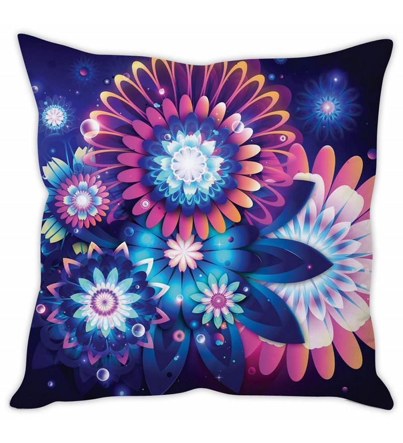 Blue Silk 16 x 16 Inch Neon Cushion Cover by Stybuzz