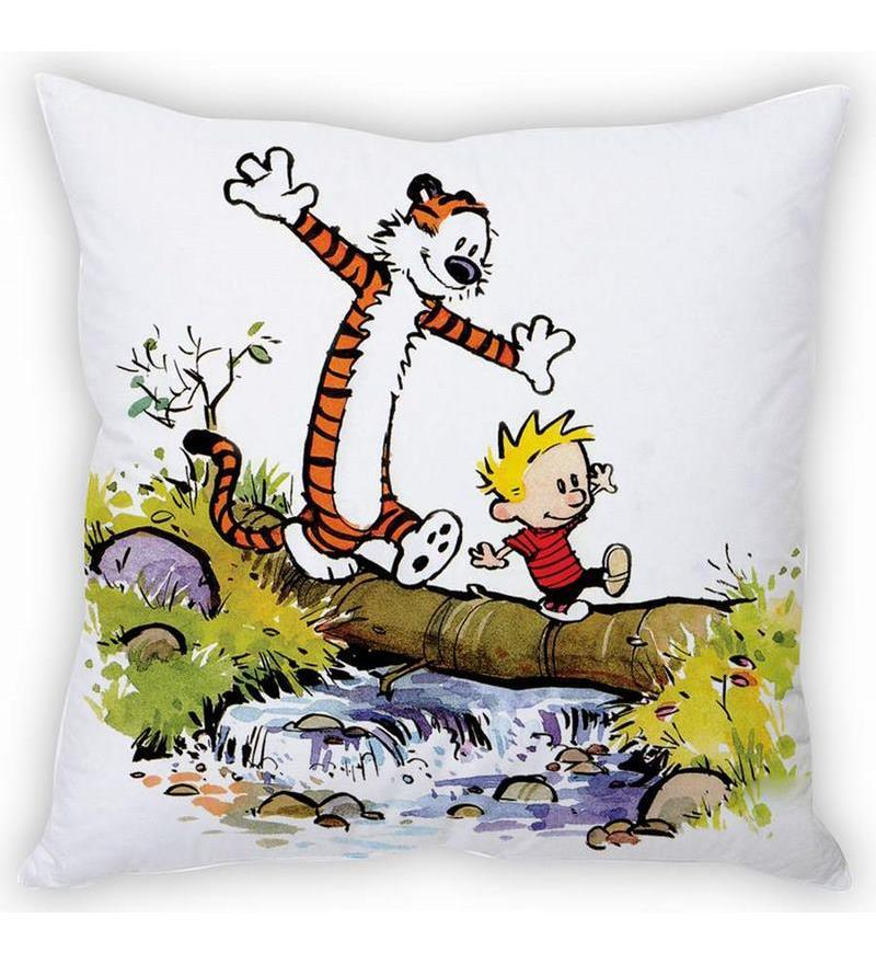Calvin & Hobbes Silk Cushion Cover by Stybuzz