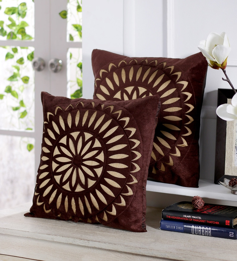 Coffee Brown Velvet 16 x 16 Inch Circle Pattern Embroidered Cushion Cover - Set of 5 by Stybuzz