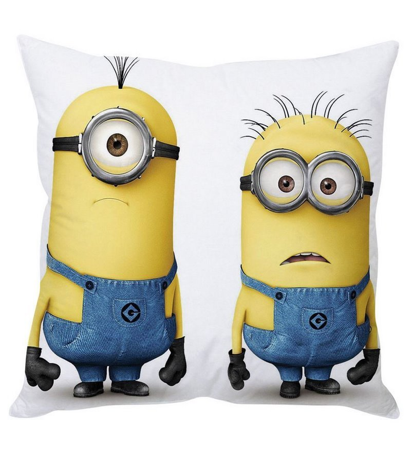Confused Minions White Silk Cushion Cover by Stybuzz
