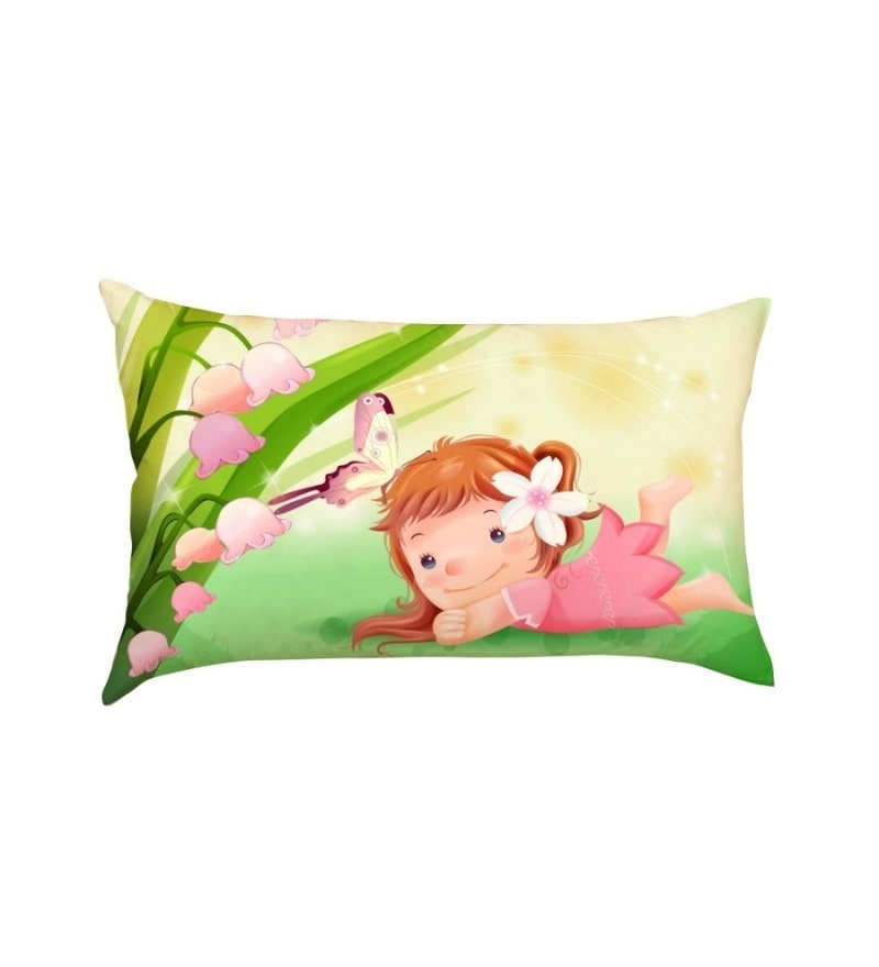 Cute Girl with Butterfly Multicolour Poly Silk Baby Pillow by Stybuzz