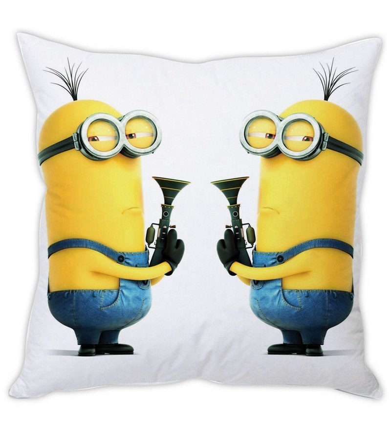 Despicable Me Minion White Silk Cushion Cover by Stybuzz