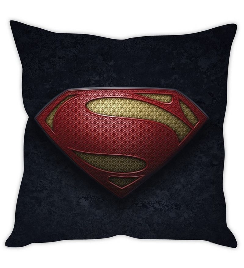 Grey Silk 16 x 16 Inch Superman Logo Cushion Cover by Stybuzz