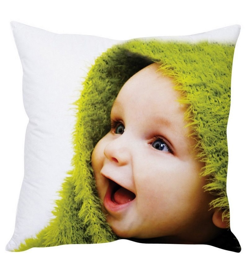 Happy Baby White Silk Cushion Cover by Stybuzz