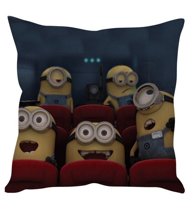 Happy Minions Yellow Silk Cushion Cover by Stybuzz