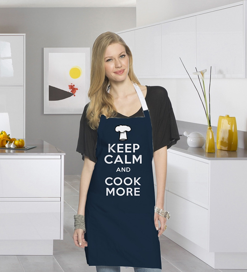 Stybuzz Keep Calm & Cook More Blue Cotton Kitchen Aprons