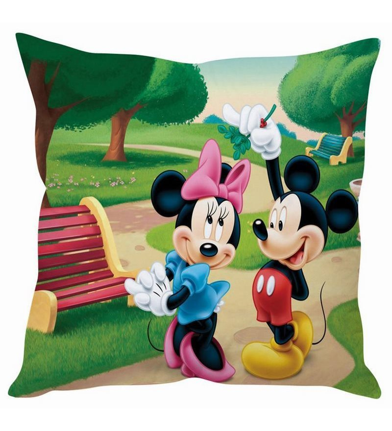 Mickey & Minnie Mouse Silk Cushion Cover by Stybuzz