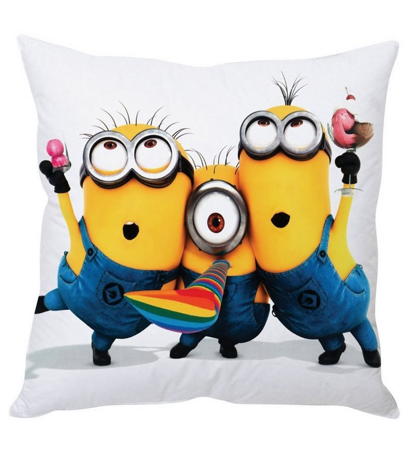 Posing Minions Yellow Silk Cushion Cover by Stybuzz