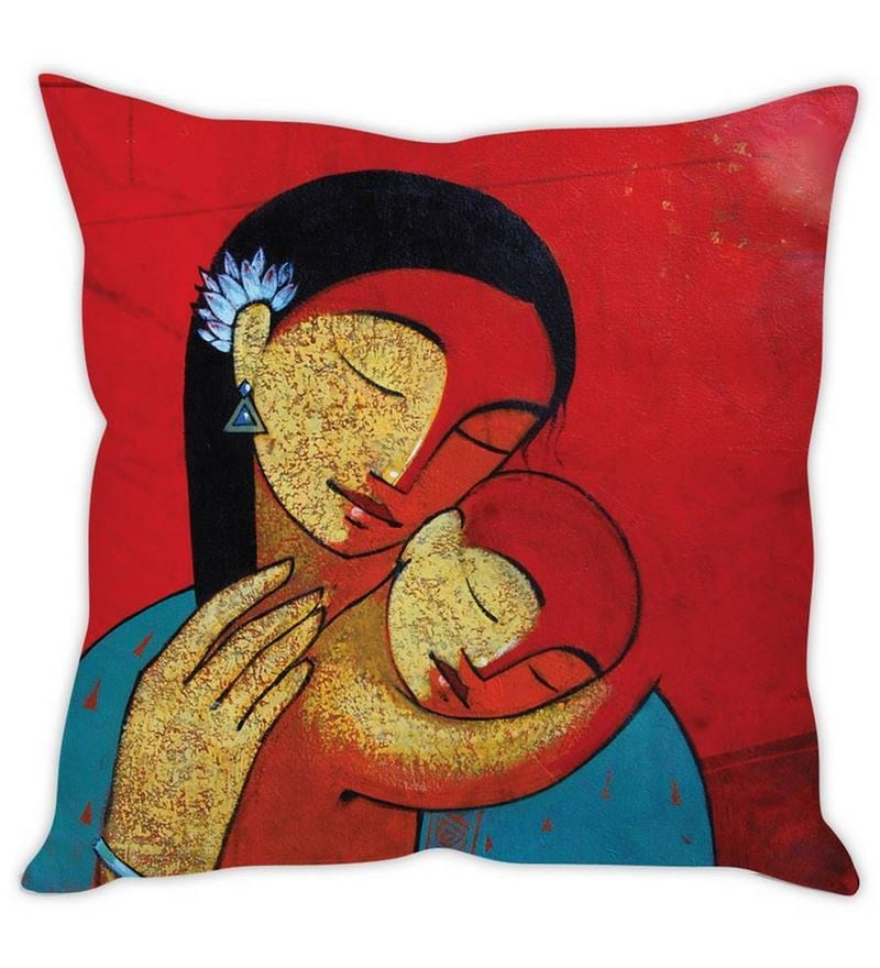 Mothers Love White Silk Cushion Cover by Stybuzz