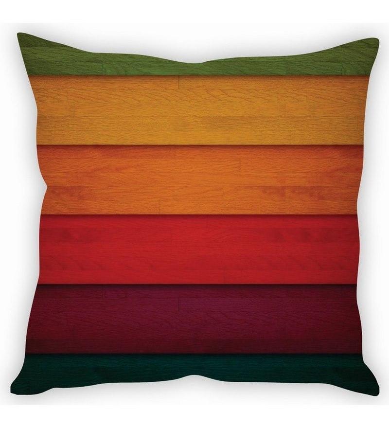 Multicolor Silk 16 x 16 Inch Panels Taffeta Cushion Cover by Stybuzz