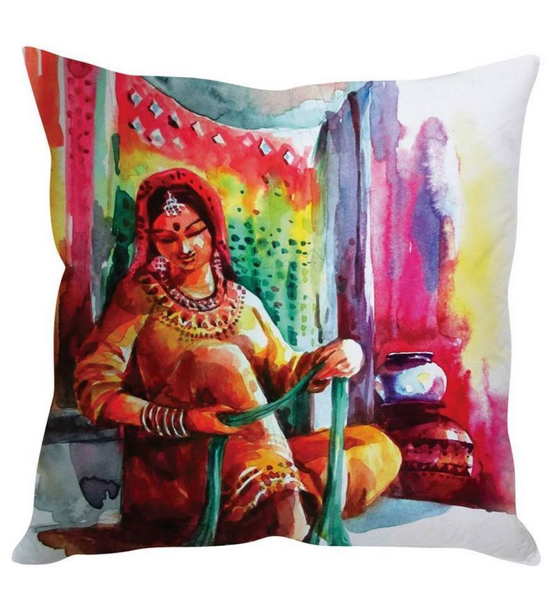Multicolor Silk 16 x 16 Inch Traditional Rajasthani Woman Multicolour Cushion Cover by Stybuzz