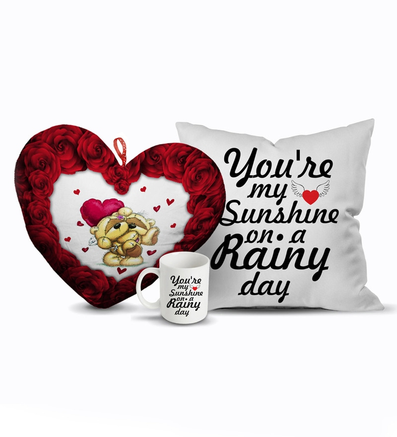 Multicolour Velvet 12 x 12 Inch Valentines Day Love Message Gift Combo Cushion Cover with Insert by Stybuzz