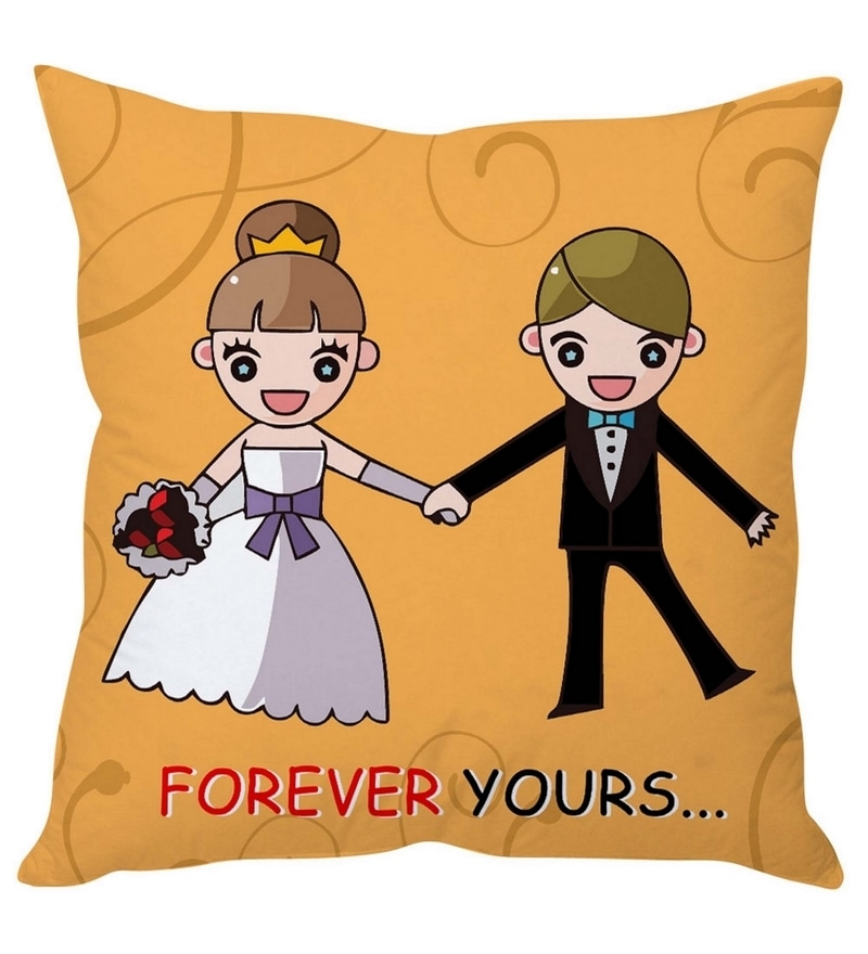 Orange Poly Silk 16 x 16 Inch 'Forever Yours' Abstract Cushion Cover by Stybuzz