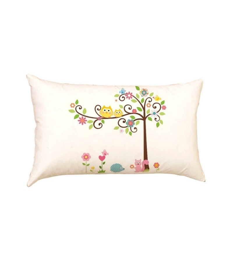 Owls on Tree Multicolour Poly Silk Baby Pillow by Stybuzz