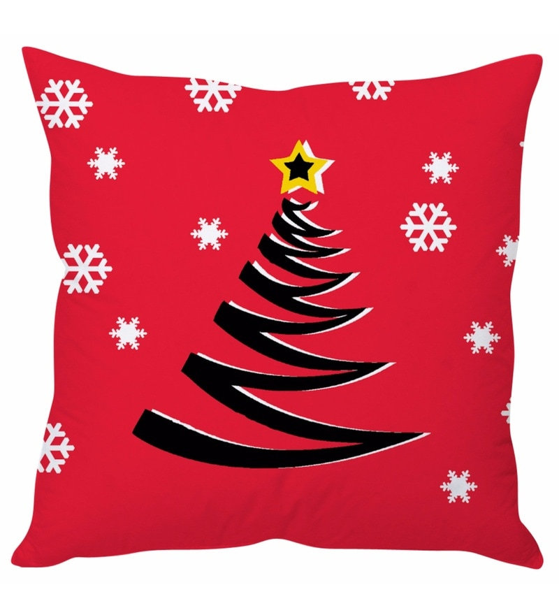 Pink 100 % Polyester 16 x 16 Inch Christmas Cushion Cover by Stybuzz